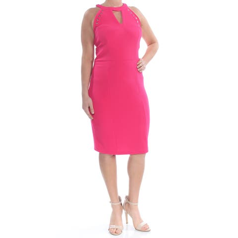 XOXO Womens Pink Grommet Trimmed Keyhole Below The Knee Body Con Party Dress Juniors Size: XL