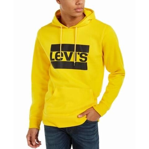 Levi's Mens Sweater Yellow Size 2XL Hooded Pullover Burndlen Fleece