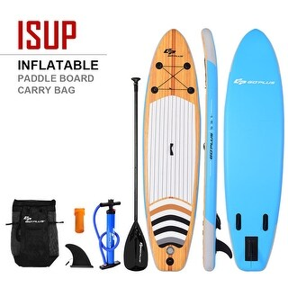 Costway 10' Inflatable Stand up Paddle Board Surfboard SUP W/ Bag Adjustable Paddle Fin