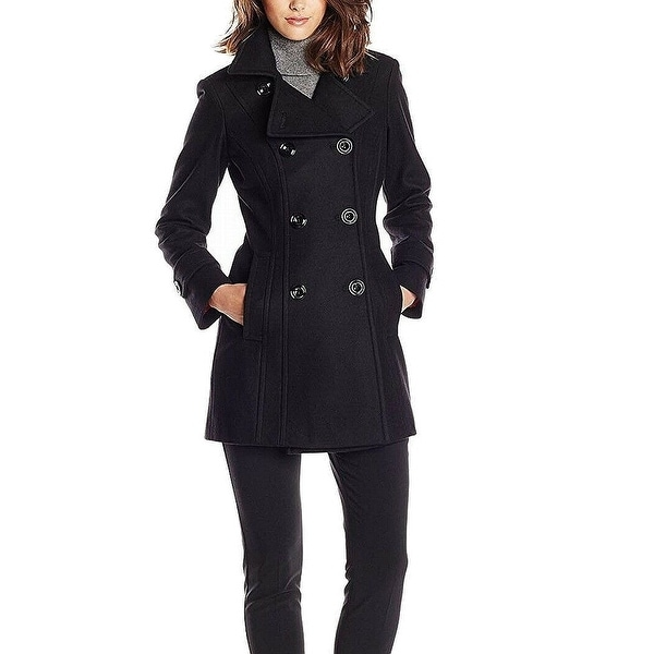 Anne Klein Womens Peacoat Black Medium M Double Breasted Notch Lapel