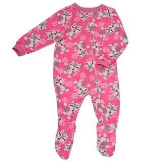 Mon Petit Baby Girls Pink Fox Print Zip Closure Footed Sleeper Pajama