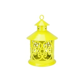 "8"" Shiny Yellow Votive or Tealight Candle Holder Lantern with Star and Scroll Cutouts"