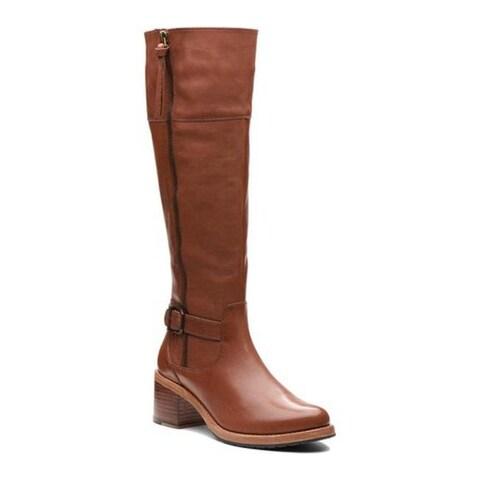 Clarks Women's Clarkdale Sona Knee High Boot Dark Tan Full Grain Leather