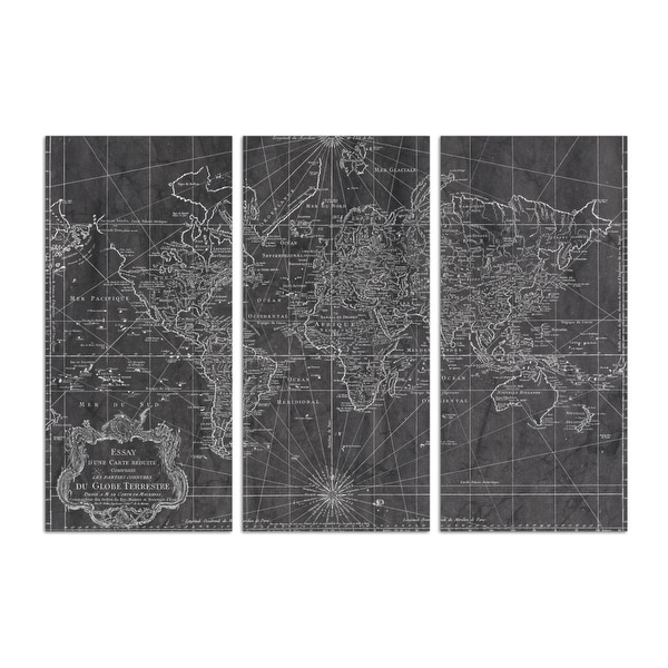 Oliver Gal 'World Map 1778 triptych' Maps and Flags Wall Art Canvas Print - Black, White. Opens flyout.