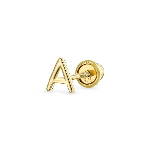 A-Z Tiny Alphabet Letter Initial Cartilage Stud Earring Real 14K Gold. Opens flyout.