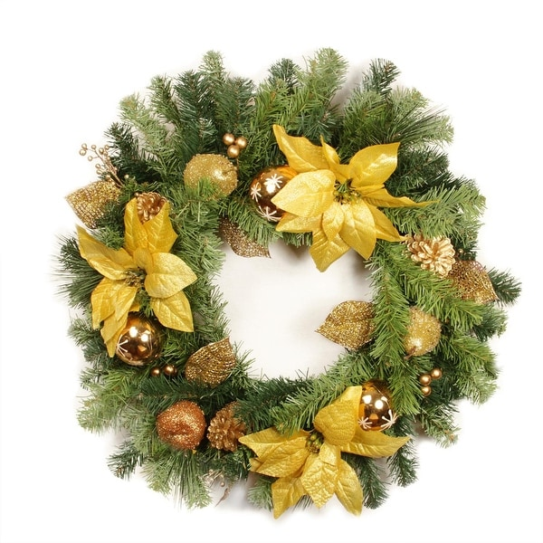 "24"" Pre-Decorated Gold Poinsettia, Apple and Berry Artificial Christmas Wreath - Unlit - green"