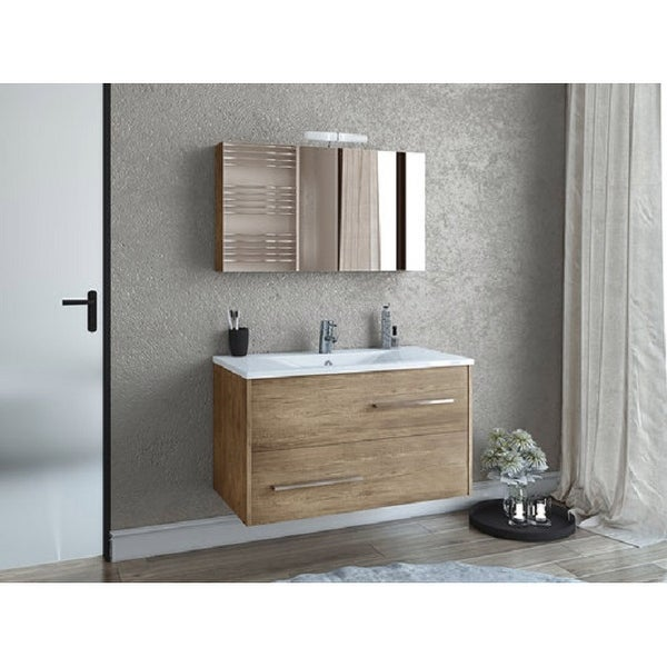 """36"""" Natural Wood Floating Vanity with Integrated Porcelain Sink. Opens flyout."""