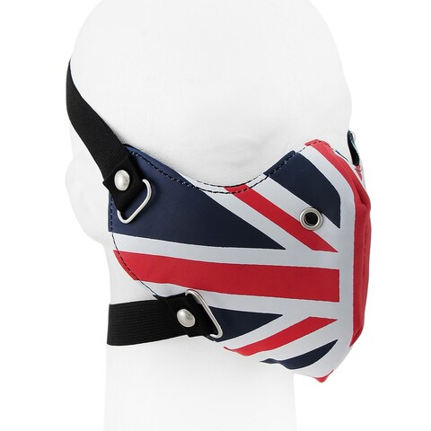 Blue White and Red Union Jack Flag Vinyl Half Face Riding Mask