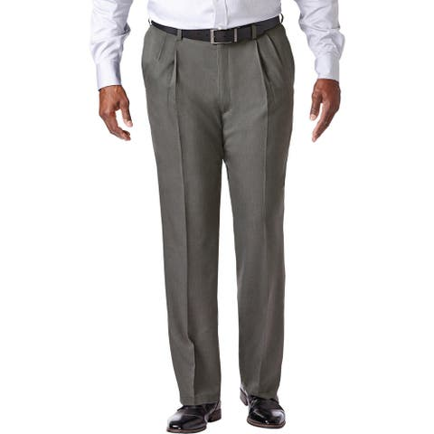 Haggar Mens Big & Tall Cool 18 Pro Dress Pants Double Pleat Office