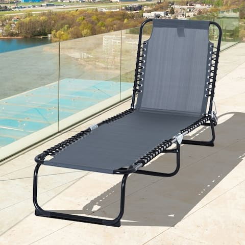 Outsunny 3-Position Reclining Beach Chair Chaise Lounge Folding Chair with Comfort Ergonomic Design, Grey