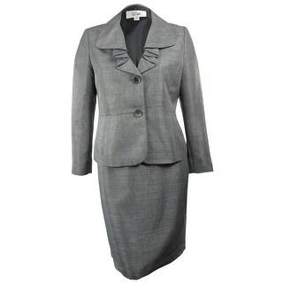 Le Suit Women's Amalfi Coast Ruffle Lapel Skirt Suit - grays - 6