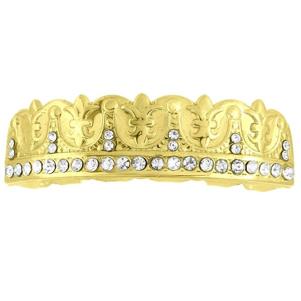 14k Yellow Gold Finish Lab Diamond Top Teeth Grillz