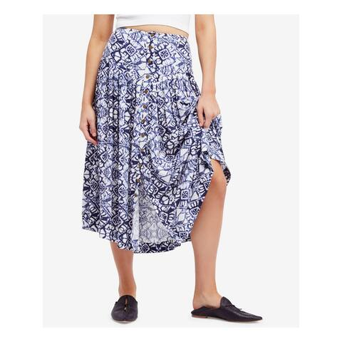 FREE PEOPLE Womens Blue Buttoned Printed Midi A-Line Skirt Size: 0