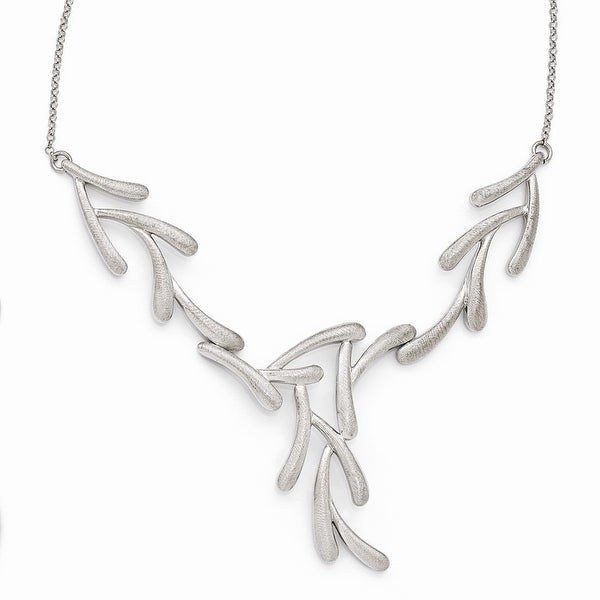 Italian Sterling Silver Scratch Finish Necklace - 18 inches