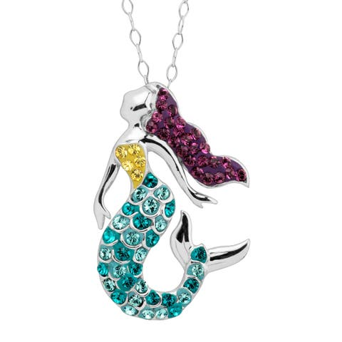 5b88dae27 Crystaluxe Mermaid Pendant with Multi Swarovski Crystals in Sterling Silver  - Purple