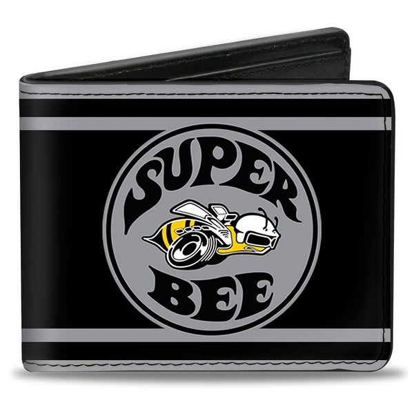 Super Bee Logo Stripes Black Gray Bi Fold Wallet - One Size Fits most