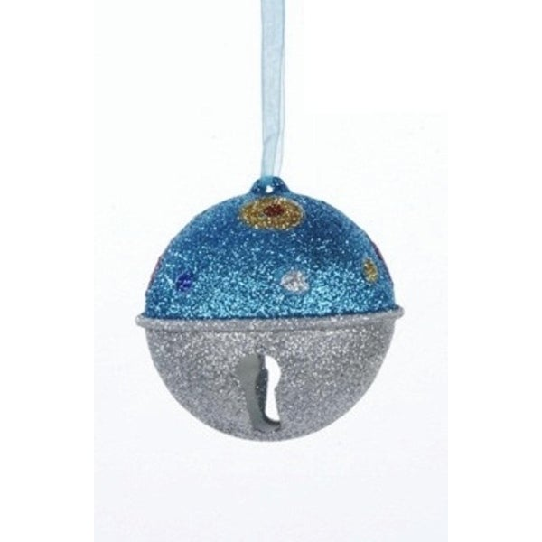 Candy Fantasy Blue and Silver Glitter Bell with Polka Dots Christmas Ornament