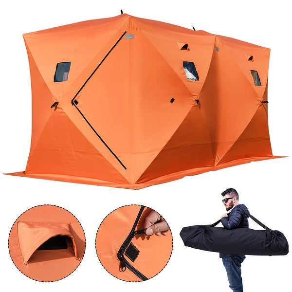Gymax Waterproof Pop-up 8-person Ice Shelter Fishing Tent Shanty Window w Carrying Bag