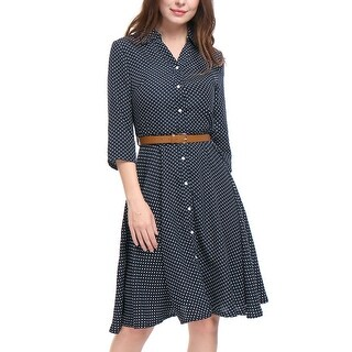 Link to Women Polka Dots 3/4 Sleeves A Line Belted Midi Shirt Dress - Blue Similar Items in Shirts