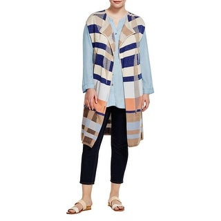 Nic + Zoe Womens Plus Watercolor Duster Sweater Striped Lace Trim