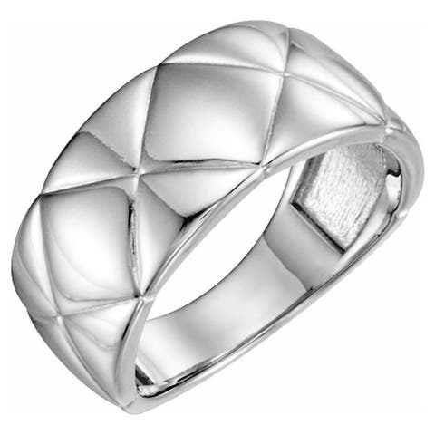 14K White Gold Quilted Ring for Women (size :7)