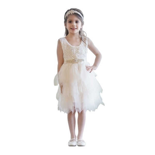 Think Pink Bows Baby Girls Ivory Cascade Ruffle Claire Flower Girl Dress 1Y