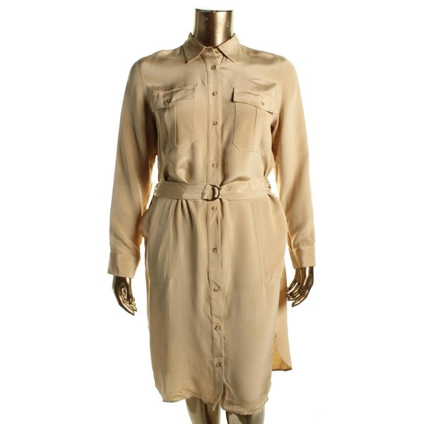 Lauren Ralph Lauren Womens Shirtdress Silk Patch Pockets