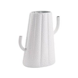 Small Cactus Metal Vase White