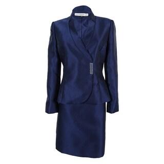 Tahari Women's Salli Satin Skirt Suit - Midnight Blue