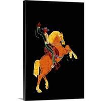 Premium Thick-Wrap Canvas entitled Cowboy and Horse Neon Sign - Multi-color
