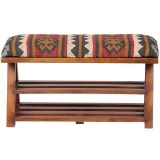 "Link to Handmade Kilim Upholstered Wooden Storage Bench - 30"" W x 12.5"" L x 16"" H Similar Items in Living Room Furniture"