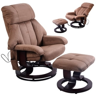 Costway Brown Leisure Recliner Chair Ottoman with 8-Motor Massage Heated Swivel