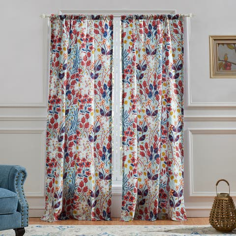 Polyester Panel Pair with Floral Prints and Two Tie Backs, Multicolor