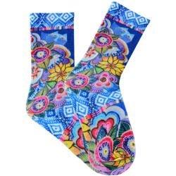 Cat With Flowers - Purple - Laurel Burch Socks