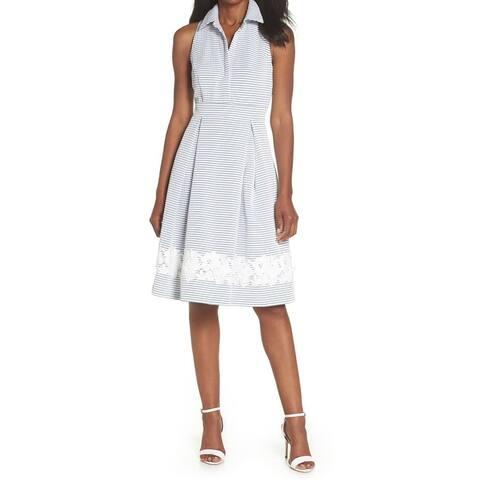 Eliza J White Womens Striped Pleated Sheath Dress