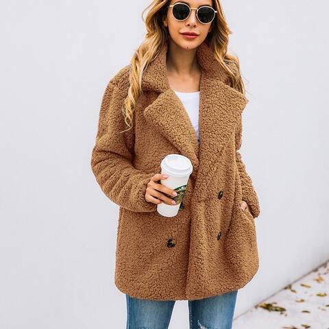 Classic Lapel Collar Fleece Coat Outwear With Pocket
