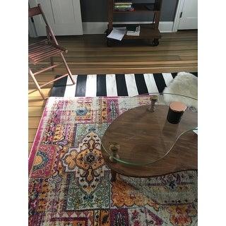 "Safavieh Montauk Handmade Caspian Flatweave Black/ Ivory Stripe Cotton Rug - 2'3"" x 7'"
