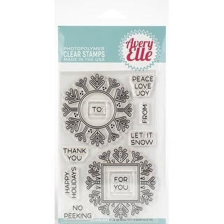 """Avery Elle Clear Stamp Set 4""""X6""""-Snow Tags"""