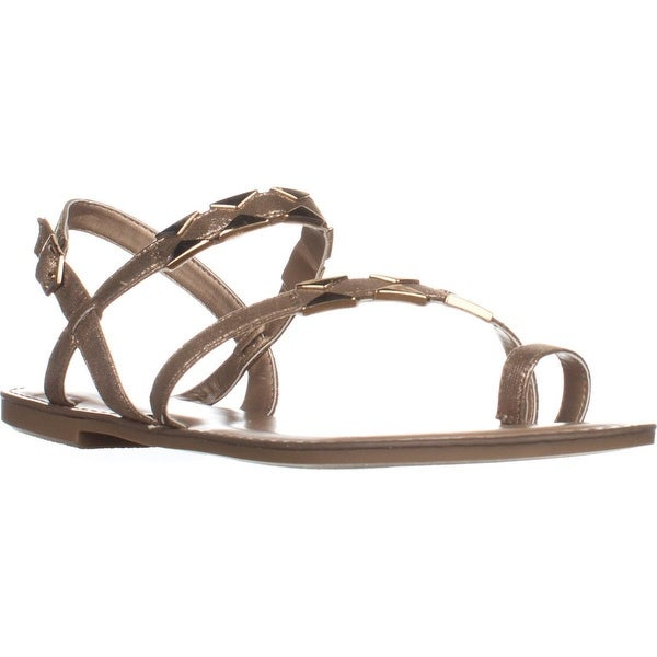 B35 Vadya Flat Toe Ring Buckle Sandals, Gold - 10 us