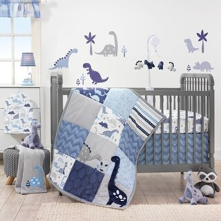 Bedtime Originals Roar Blue/Gray/White Dinosaur 3-Piece Nursery Baby Crib Bedding Set