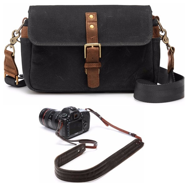 a3730392c0d Shop ONA Bowery Classic Camera Bag/Insert, Black, with Leather Presidio  Camera Strap - Free Shipping Today - Overstock - 18543243