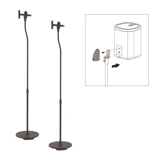Universal Speaker Stands, Standing Speaker Mount Holders, Height Adjustable (Works with Sonos PLAY 1, PLAY 3)