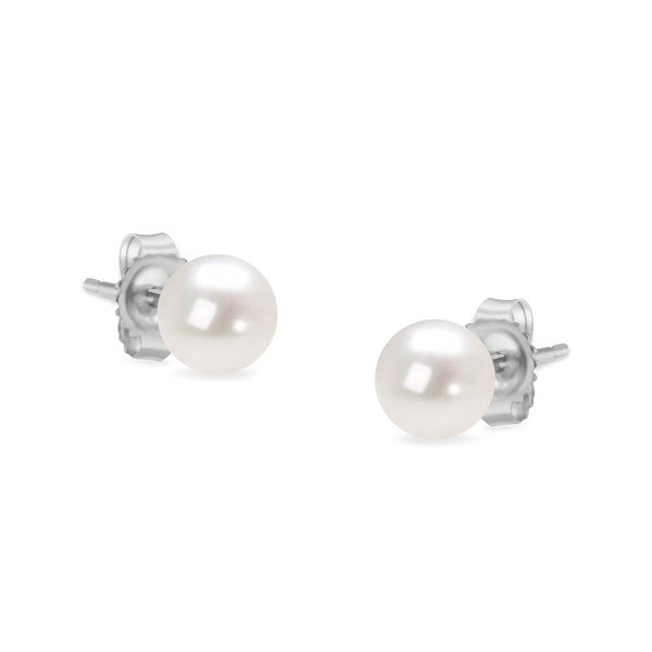 14K Gold Round Akoya Cultured Pearl Solitaire Stud Earrings AAA+ Quality - Choice of Gold Color & Pearl Size. Opens flyout.