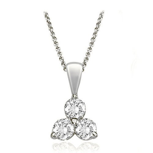 0.50 cttw. 14K White Gold Classic Three-Stone Diamond Pendant