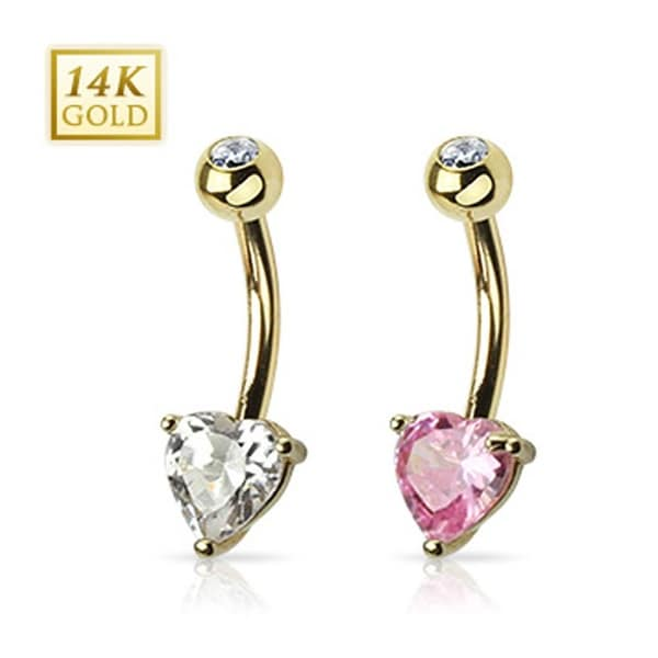 "14 Karat Solid Yellow Gold Navel Belly Button Ring with Prong-Set Heart CZ - 14GA 3/8"" Long"