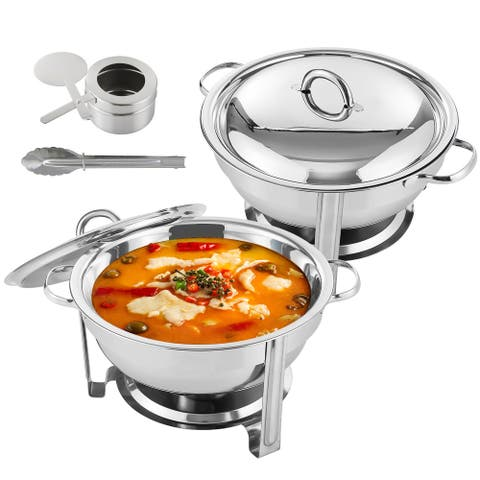 5 Qt Full Size Stainless Steel Chafing Dish Round Chafer Buffet Catering Warmer Set - Silver