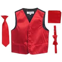 Red Vest Necktie Bowtie Pocket Square Boys Set 8-14