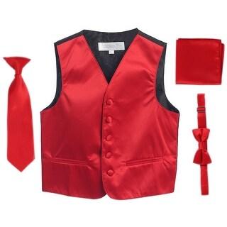 Red Vest Necktie Bowtie Pocket Square Toddler Boys Set 2T-3T
