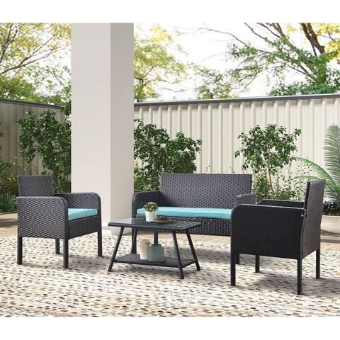 Merax 4 Piece Rattan Sofa Seating Group with Cushions