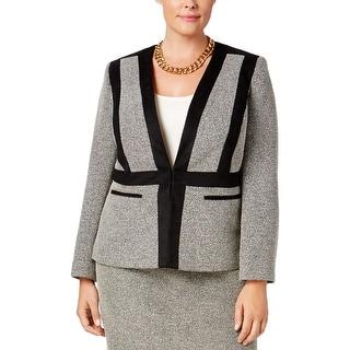 Kasper Womens Plus Collarless Blazer Faux Suede Textured